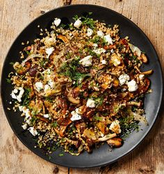 Yotam Ottolenghi's mushroom recipes: bulgur with mushrooms, feta and dill; Roast portobello mushrooms with brioche and poached egg; Quick-pickled mushrooms with goat's curd; Mushroom Recipes, Veggie Recipes, Fall Recipes, Vegetarian Recipes, Cooking Recipes, Healthy Recipes, King Oyster Mushroom Recipe, Cooking Pasta, Greek Recipes