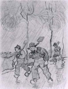 Three Peasants with Spades on a Road in the Rain - Vincent van Gogh . Created in Saint-Rémy in March - April, Located at Van Gogh Museum Vincent Van Gogh, Van Gogh Drawings, Van Gogh Paintings, Pierre Auguste Renoir, Edouard Manet, Desenhos Van Gogh, Charles Gleyre, Van Gogh Arte, Van Gogh Pinturas