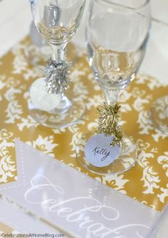 nye tinsel wrap & drink markers