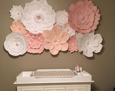 Paper flower wall in girls bedroom grey pink and white paper please check processing time on the shipping tab or send us a message to confirm thanks so much paper flower backdrops mightylinksfo