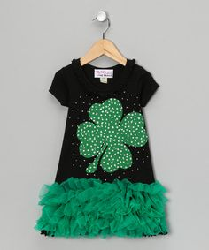 Take a look at this Green Sparkle Lucky Charm Ruffle Dress - Infant, Toddler & Girls by The Princess and the Prince on #zulily today!