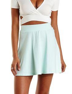 High-Waisted Skater Skirt: Charlotte Russe #charlottelook #skaterskirt #mint