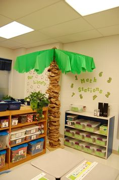 Beach or Jungle Theme ~~ Make palm trees using brown paper grocery bags and a stripped golf umbrella frame. classroom-theme-decorations-ideas