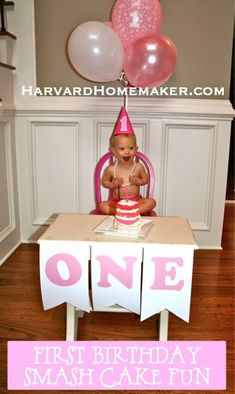 Baby's First Birthday Smash Cake Fun.  Details about the mini layer cake, banner, hat, chair--with a few mom tips thrown in.   #birthday #harvardhomemaker #baby