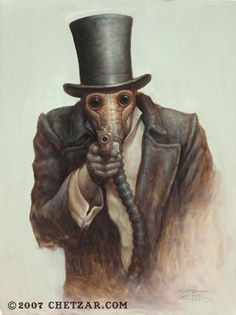 Chet Zar, his artwork is a little more disturbing, but it's is also very unique and very cool to say the least.