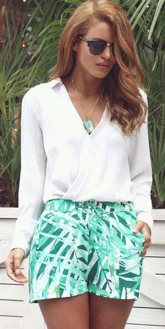 White Blouse + Palm Prints Shorts