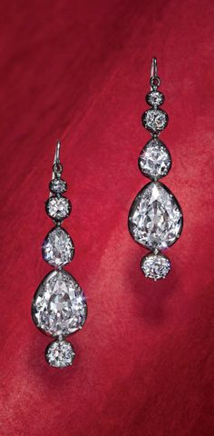 ANTIQUE DIAMOND EAR PENDANTS, C-1880