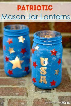Patriotic Mason Jar Lanterns
