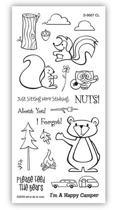 camping stamps. You could print them out as coloring pages for kids to color on a long ride to your campsite