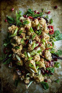 Crispy Cauliflower Salad with Tahini Vinaigrette