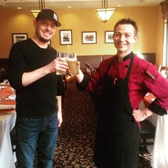 Jamie Maxwell from Calabogie Brewery (congrats on your Bronze victory at the Ottawa Craft Beer competition this week) and Canthooks Executive Chef Tristan Hertzog toast to their first Executive Chef, Ottawa, Fine Dining, Craft Beer, Brewery, Competition, Toast, Bronze, Restaurant