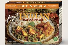 Amy's Indian Mattar Paneer is gluten-free AND vegetarian, for an easy dinner that's light on calories. Paneer is a mild Indian cheese that's chock full of flavor. Mattar Paneer Recipe, Paneer Recipes, Indian Food Recipes, Gourmet Recipes, Dog Food Recipes, Snack Recipes, Healthy Recipes, Best Frozen Meals, Indian Cheese