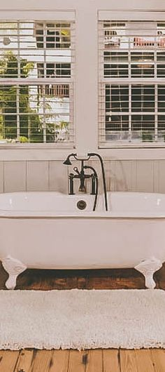 Tubs with endless beauty. Do you have a clawfoot tub? Cabin Bathrooms, Gatlinburg Cabin Rentals, Clawfoot Bathtub, Tubs, Modern Decor, Showers, Farmhouse, Cottage, River
