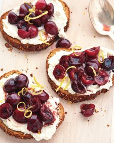 Fresh Ricotta, Cherry, and Lemon Zest Crostini....i would take this over dessert any day!