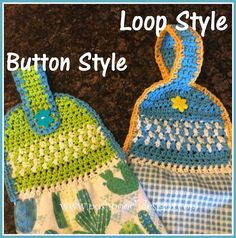 Dish Towel Toppers Crochet Pattern By Sara Sach of Posh Pooch Designs This Crochet Pattern has 2 Styles of Toppers The Butt. Crochet Towel Holders, Crochet Dish Towels, Crochet Towel Topper, Crochet Hooks, Crochet Potholders, Crochet Squares, Half Double Crochet, Single Crochet, Crochet For Kids