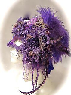 Venetian Purple Masquerade Ball Mask Mardi Gras by Marcellefinery