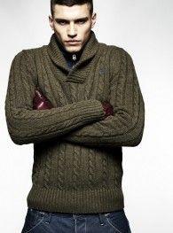 Shawl collar knit.