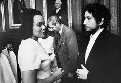 Dylan | Civil rights activist Coretta Scott King talks to American singer and songwriter Bob Dylan after they were each given honorary degrees from Princeton University on June 9th, 1970, Princeton, New Jersey.