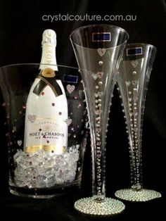 Easy idea to add Wedding bling to champagne flutes and ice buckets.