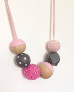 Modern Handpainted Polka Dots Wooden Bead by MyLittleUsagi on Etsy, $20.00