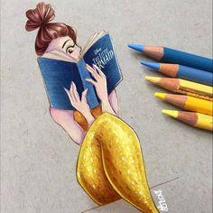 Belle mermaid reading the Little Mermaid fairytale book Drawing Cartoon Characters, Character Drawing, Cartoon Drawings, Cute Drawings, Character Design, Mermaid Artwork, Mermaid Drawings, Disney Drawings, Arte Disney