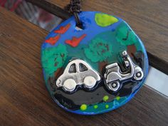 key-locket, polymer clay, handpainted with two metal-pieces