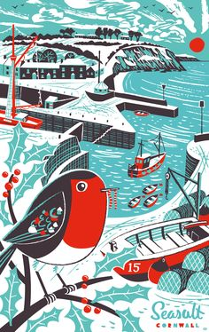 Mid-century style Christmas tea towel print of robin and snowy Charlestown Harbour. By Matt Johnson for Seasalt Cornwall.