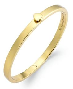 kate spade new york Bracelet, 12k Gold-Plated Spade Hinged Thin Bangle Bracelet | macys.com