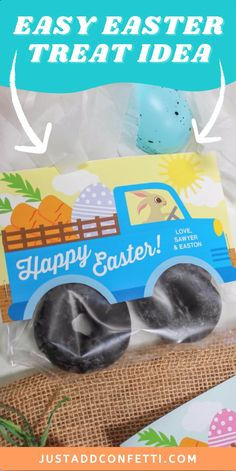 Get ready for Easter with this cute Easter Treat Idea! The printable Easter treat bag topper comes in three color and wording options, all available in my Just Add Confetti Etsy Shop. Staple the bunny truck treat bag printable card on top of a baggie of chocolate mini donuts to give the illusion of muddy tires! Such a fun Easter gift idea for kids! An adorable Easter treat in minutes! Also, be sure to head to justaddconfetti.com for even more Easter decorations, gift ideas and crafts.