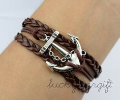 Ancient silver charm and cool anchor bracelet by luckystargift, $1.69