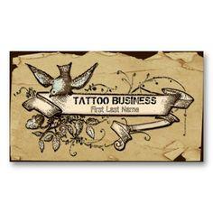 Messy grunge bird swirl tattoo business cards