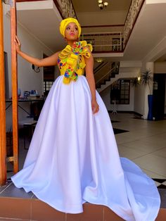 Wedding Dresses South Africa, African Print Wedding Dress, African Wedding Attire, African Attire, African Maxi Dresses, Latest African Fashion Dresses, African Dresses For Women, Ankara Gowns, Tsonga Traditional Dresses