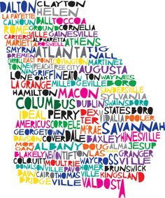 """I found one where """"Newnan"""" has been corrected!  I am SO ordering this for Nick's birthday to be framed!  They will custom make this!  If your hometown or current town isn't on here, they'll redo it for you!  So stinkin' awesome!"""
