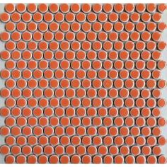 "Penny Round Tile Orange Porcelain Floor Tiles 3/5"" Glossy Ceramic Mosaic Backsplash"