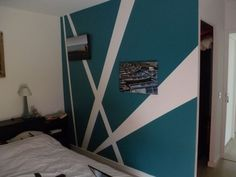 ideas bedroom wall patterns paint for 2020 Wall Murals Bedroom, Bedroom Wall Designs, Bedroom Wall Colors, Room Colors, Bedroom Decor, Geometric Wall Paint, Wall Painting Decor, Home Room Design, Wall Patterns