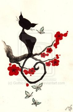 Cherry Cat by Gothic Moonlight (DeviantArt) -- One of my next tattoos! More