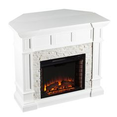 Southern Enterprises Merrimack Corner Convertible Faux Stone Electric Fireplace In White White Corner Electric Fireplace, Faux Stone Electric Fireplace, Indoor Electric Fireplace, Electric Fireplace Reviews, Electric Fireplace Insert, Indoor Fireplaces, Infrared Fireplace, Convertible, Fireplace Hearth