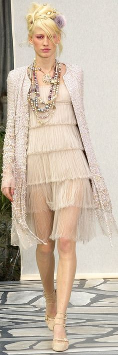 Chanel ~ Haute Couture Beige Sheer Layer Mini w Top Coat
