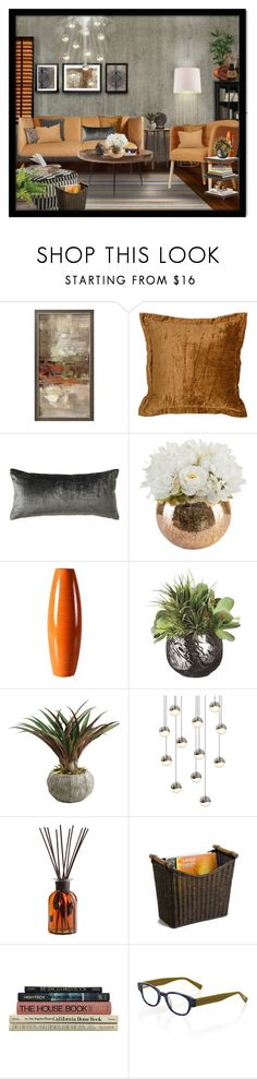 """""""Untitled #5435"""" by julissag ❤ liked on Polyvore featuring interior, interiors, interior design, home, home decor, interior decorating, Villa Home Collection, Kevin O'Brien, Hanover Floral and Sonneman"""