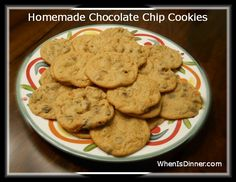 Homemade Chocolate Chip Cookies-                                                 Serves: 18 Ingredients ½ cup Sugar ½ cup Brown Sugar, Packed ⅓ cup Butter, I used Salted ⅓ cup Shortening 1 egg 1 tsp Vanilla Extract 1½ cups Self Rising Flour (If using All Purpose, add ½ tsp Salt & ½ tsp Baking Soda) 1 package your preferred brand of Chocolate Chips