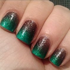 manicura degradado nails degraded green brown verde marrón Kiko manicure