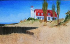 Point Betsie Lighthouse - Painting 31 - by Joanne Labato Stone