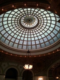 Chicago Cultural Center aka the original Chicago library which has the largest Tiffany glass dome in the world