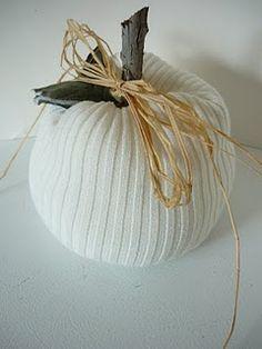 Almost no-sew sweater pumpkins
