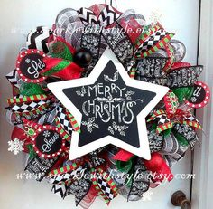 Christmas Wreath Chalkboard Christmas by SparkleWithStyle