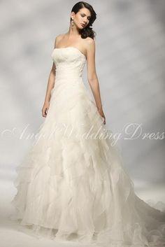 aline organza strapless natural waist sleeveless floor length lace up wedding gown