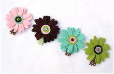 Girls Hair Clip Felt Flower Hair Clip Set of 4 by Snugglebugkidz, $14.99
