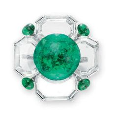 AN EMERALD AND DIAMOND RING, BY BHAGAT   Centering upon a faceted circular emerald bead, extending four octagonal table-cut diamonds, decorated at the four corners with smaller emerald beads, to the circular-cut diamond gallery and tapered half hoop, mounted in platinum  Signed Bhagat