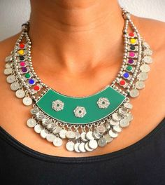 Indian statement Boho Silver necklace Bollywood by GoddessAyurveda