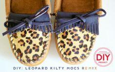 Minnetonka DIY Project - Leopard Kilty Mocs Remix